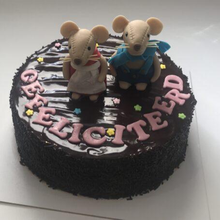 Chocolade taart 3D muisjes