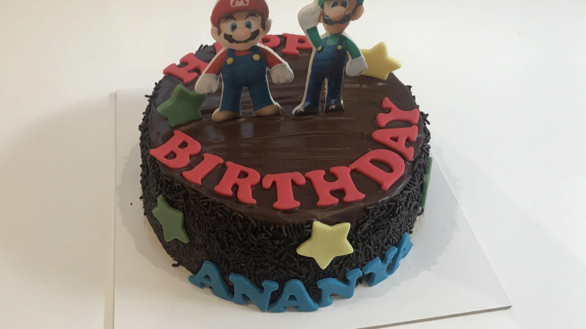 Mario en Luigi chocolade taart